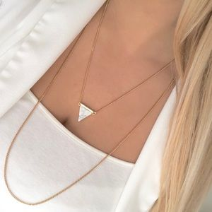 Express gold layered white marble necklace